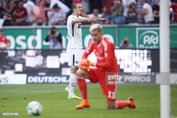 Alexander Meier of Frankfurt celebrates after he scored a goal to make it 30 during the Bundesliga match between Eintracht Frankfurt and Hamburger SV...