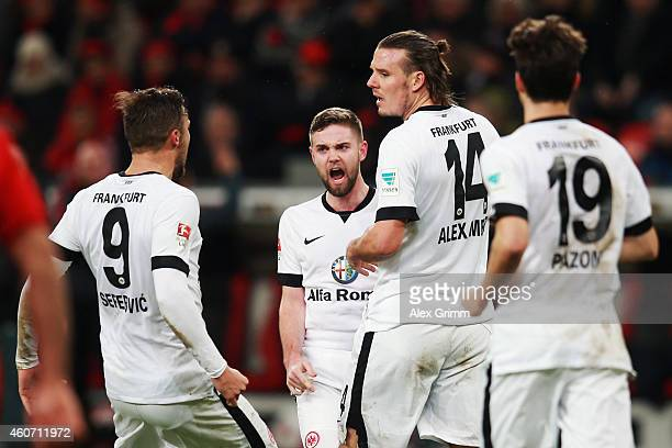 Alexander Meier of Frankfurt celebrates his team's first goal with team mates Haris Seferovic Marc Stendera and Lucas Piazon during the Bundesliga...