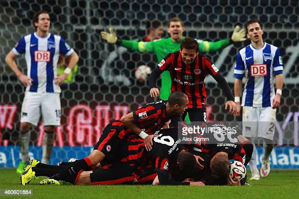 Alexander Meier of Frankfurt celebrates his team's fourth goal with team mates during the Bundesliga match between Eintracht Frankfurt and Hertha BSC...