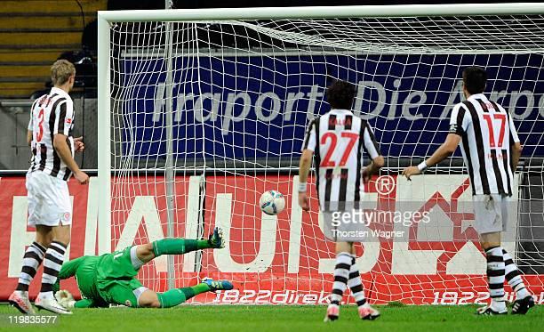 Alexander Meier of Frankfurt is scoring his teams first goal during the Second Bundesliga match between Eintracht Frankfurt and FC St. Pauli at...