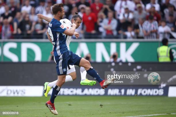 Alexander Meier of Frankfurt scores a goal to make it 30 during the Bundesliga match between Eintracht Frankfurt and Hamburger SV at CommerzbankArena...