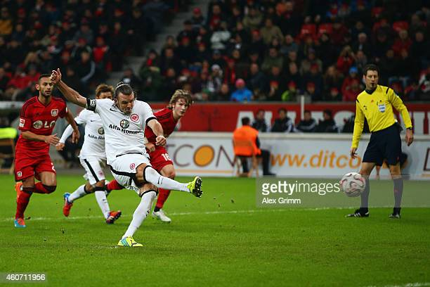 Alexander Meier of Frankfurt scores his team's first goal from the penalty spot during the Bundesliga match between Bayer 04 Leverkusen and Eintracht...