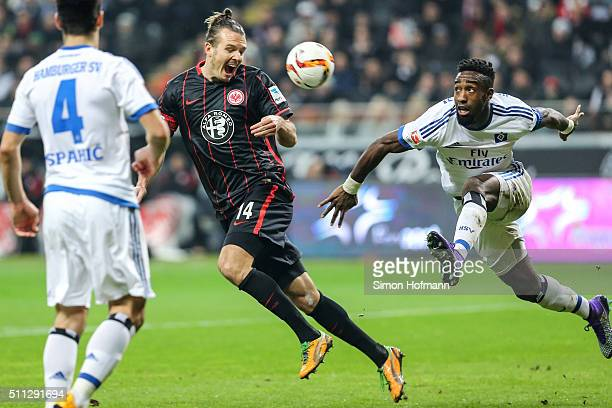 Alexander Meier of Frankfurt tries to score against Johan Djourou of Hamburg during the Bundesliga match between Eintracht Frankfurt and Hamburger SV...