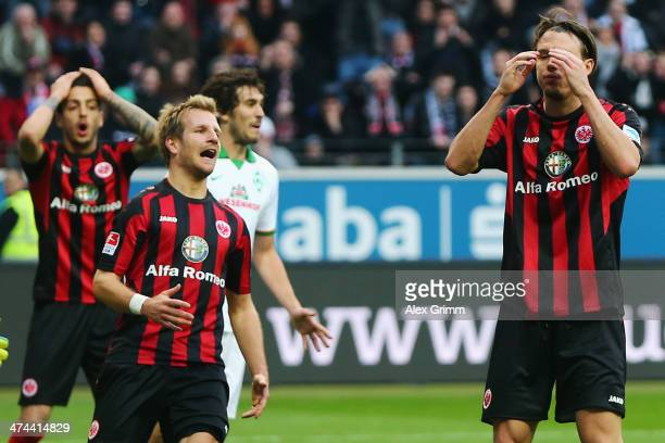 Alexander Meier Stefan Aigner and Joselu of Frankfurt react during the Bundesliga match between Eintracht Frankfurt and Werder Bremen at Commerzbank...