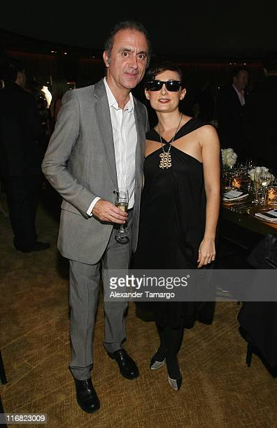 Alexander Melo and Karina Daskalov attend a private dinner in honor of Anri Sala at the Cartier Dome Miami Beach Botanical Garden on December 2 2008...