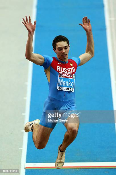 Alexander Menkov of Russia competes in the Men's Long Jump Final during day three of European Indoor Athletics at Scandinavium on March 3 2013 in...
