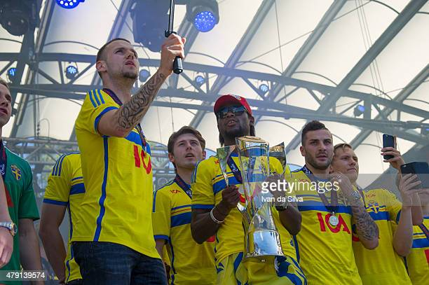 Alexander Milosevic Arber Zeneli Joseph Baffo Mikael Ishak and Ludwig Augustinsson of Sweden U21 Team after they returned to Sweden victorious after...