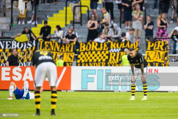 Alexander Milosevic of AIK dejected after an Allsvenskan match between AIK and IFK Norrkoping ends 33 at Friends Arena on May 26 2018 in Stockholm...
