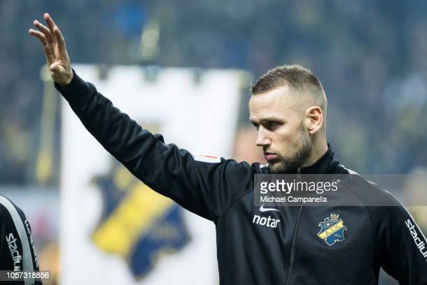 Alexander Milosevic of AIK during an Allsvenskan match between AIK and GIF Sundsvall at Friends Arena on November 4 2018 in Stockholm Sweden
