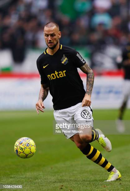 Alexander Milosevic of AIK during the Allsvenskan match between AIK and Hammarby IF at Friends Arena on September 23 2018 in Solna Sweden