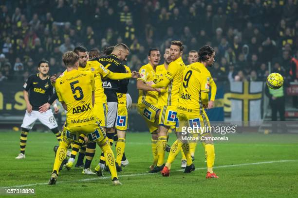 Alexander Milosevic of AIK heads the ball on goal during an Allsvenskan match between AIK and GIF Sundsvall at Friends Arena on November 4 2018 in...