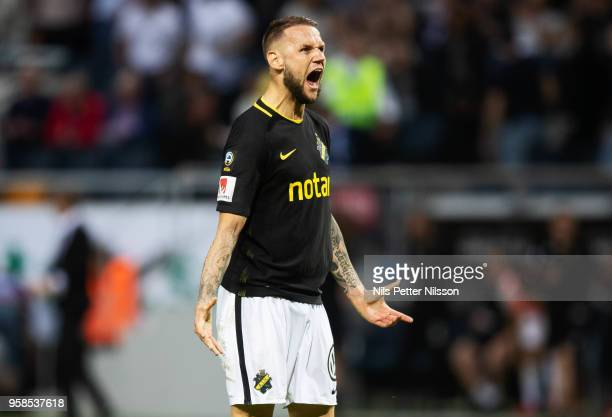 Alexander Milosevic of AIK reacts during the Allsvenskan match between AIK and Ostersunds FK at Friends Arena on May 14 2018 in Stockholm Sweden