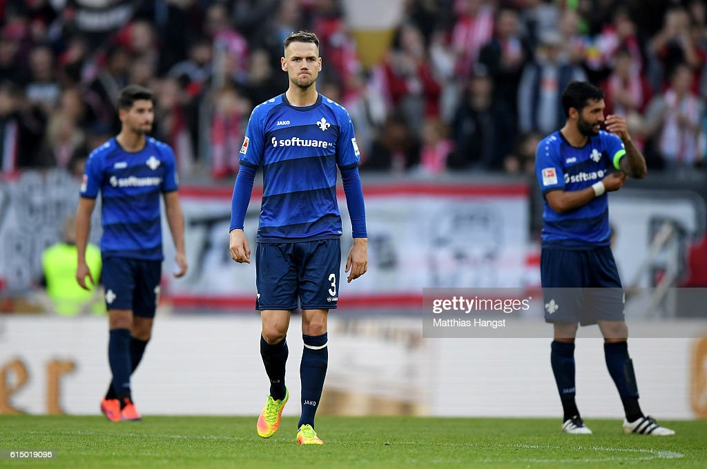Alexander Milosevic #3 of Darmstadt looks dejected after the Bundesliga match between 1. FSV Mainz 05 and SV Darmstadt 98 at Opel Arena on October 16, 2016 in Mainz, Germany.