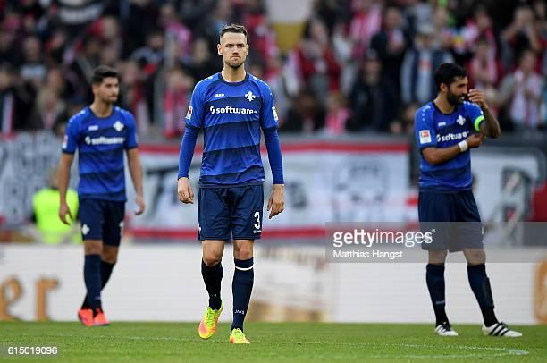 Alexander Milosevic of Darmstadt looks dejected after the Bundesliga match between 1 FSV Mainz 05 and SV Darmstadt 98 at Opel Arena on October 16...