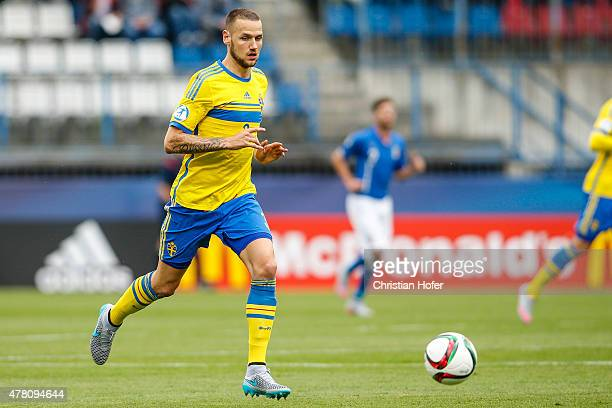 Alexander Milosevic of Sweden controls the ball during the UEFA Under21 European Championship between Italy and Sweden at Andruv Stadium on June 18...