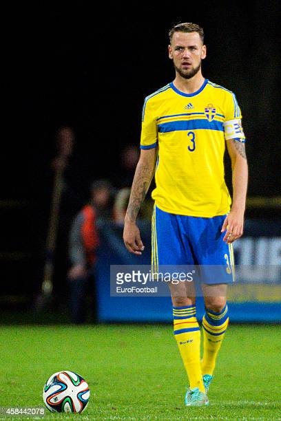 Alexander Milosevic of Sweden in action during the UEFA Under21 Championship qualifying match between Sweden and France in Orjans Vall Stadium on...