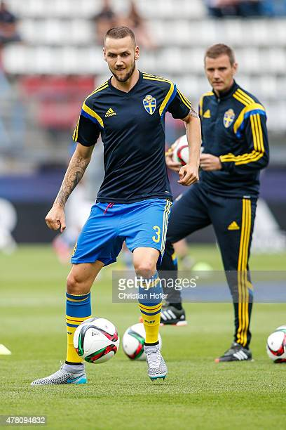 Alexander Milosevic of Sweden is seen during warm up prior to the UEFA Under21 European Championship between Italy and Sweden at Andruv Stadium on...