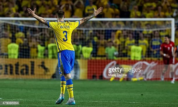 Alexander Milosevic of Sweden reacts during UEFA U21 European Championship final match between Portugal and Sweden at Eden Stadium on June 30 2015 in...