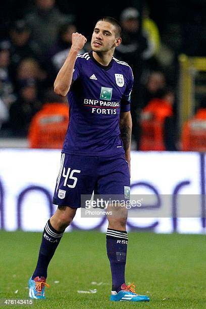 Alexander Mitrovic of RSC Anderlecht celebrating his goal during the Jupiler League match between RSC Anderlecht and Krc Genk on March 02 2014 in the...