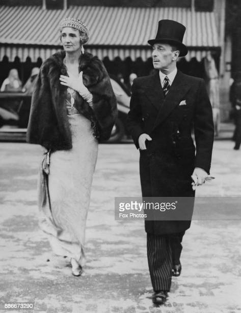 Alexander Mountbatten 1st Marquess of Carisbrooke and the Marchioness of Carisbrooke leave the House of Lords in London after the State Opening Of...