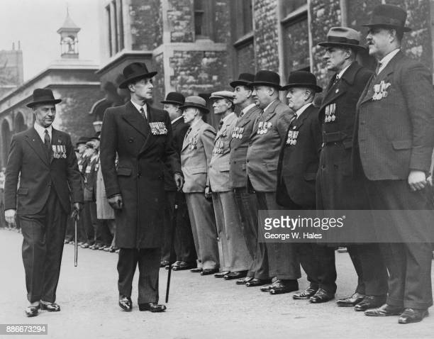 Alexander Mountbatten 1st Marquess of Carisbrooke inspects the Duchy of Cornwall branch of the Old Contemptibles at the Tower of London 8th May 1938