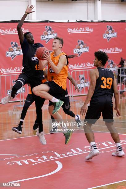 Alexander Mudronja drives to the basket during the NBL Combine 2017/18 at Melbourne Sports and Aquatic Centre on April 17 2017 in Melbourne Australia