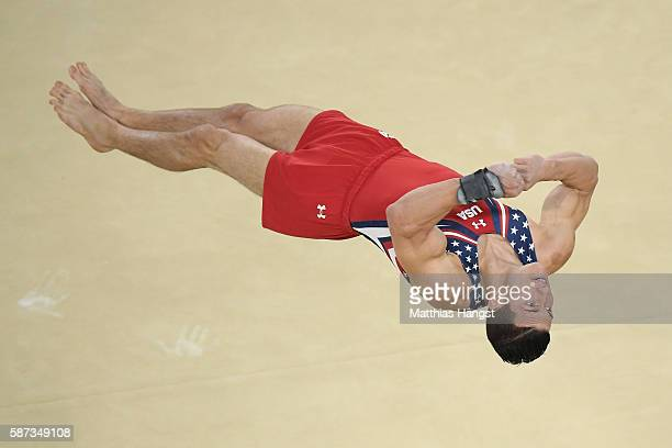 Alexander Naddour of the United States comeptes on the floor during the men's team final on Day 3 of the Rio 2016 Olympic Games at the Rio Olympic...