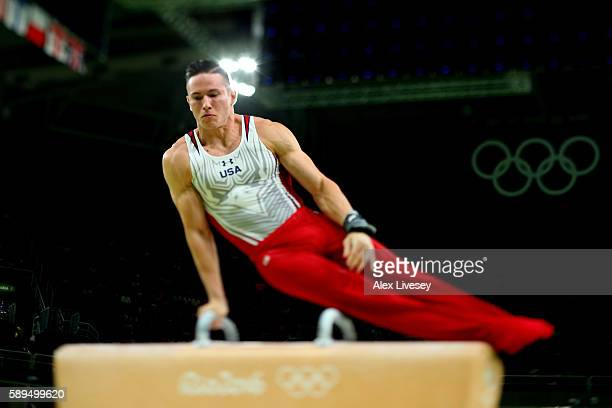 Alexander Naddour of the United States competes in the Men's Pommel Horse Final on Day 9 of the Rio 2016 Olympic Games at the Rio Olympic Arena on...