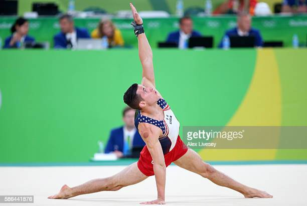 Alexander Naddour of the United States competes on the floor in the Artistic Gymnastics Men's Team qualification on Day 1 of the Rio 2016 Olympic...