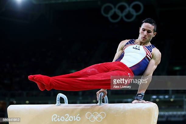 Alexander Naddour of the United States competes on the pommel horse in the Artistic Gymnastics Men's Team qualification on Day 1 of the Rio 2016...