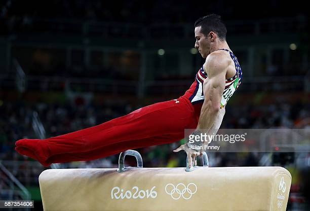 Alexander Naddour of the United States competes on the pommel horse during the men's team final on Day 3 of the Rio 2016 Olympic Games at the Rio...