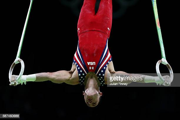 Alexander Naddour of the United States competes on the rings during the men's team final on Day 3 of the Rio 2016 Olympic Games at the Rio Olympic...