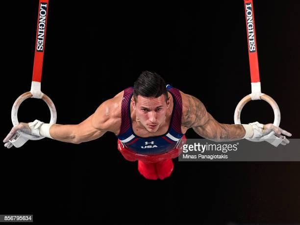 Alexander Naddour of the United States competes on the rings during day one of the Artistic Gymnastics World Championships on October 2 2017 at...