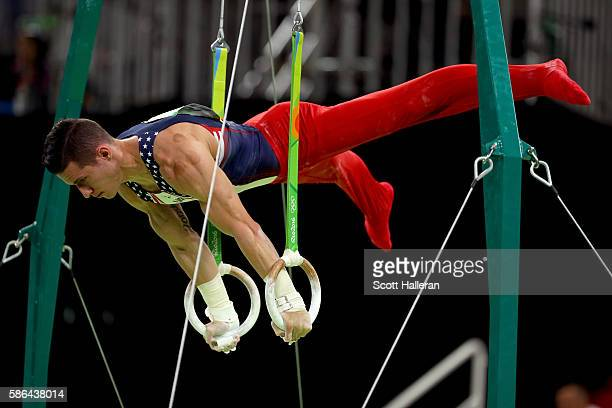 Alexander Naddour of the United States competes on the rings in the Artistic Gymnastics Men's Team qualification on Day 1 of the Rio 2016 Olympic...