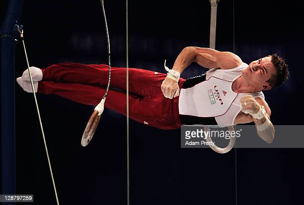 Alexander Naddour of the USA competes on the Rings aparatus in the Men's qualification during day three of the Artistic Gymnastics World...