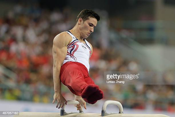 Alexander Naddour of United States competes on the Pommel Horse during the Men's Pommel Horse Final on day five of the 45th Artistic Gymnastics World...