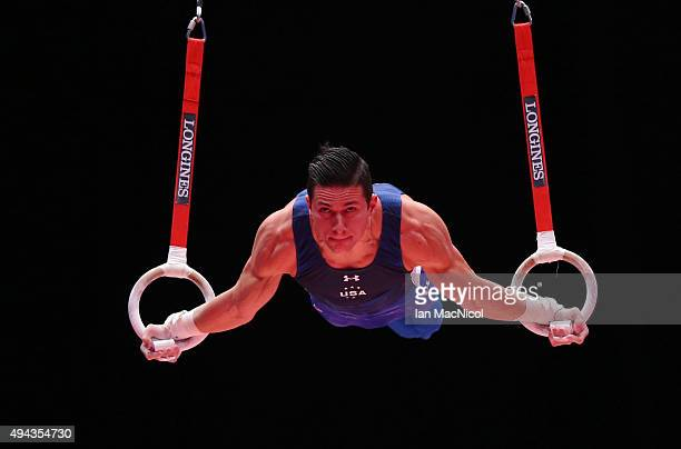 Alexander Naddour of United States competes on the Rings during day four of World Artistic Gymnastics Championships at The SSE Hydro on October 26...