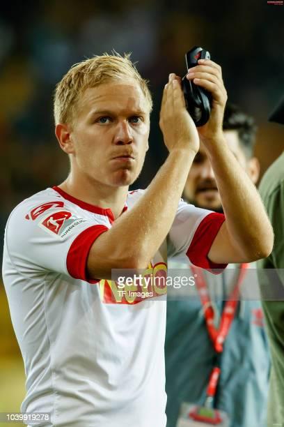 Alexander Nandzik of Jahn Regensburg gestures during the Second Bundesliga match between SSV Jahn Regensburg and SG Dynamo Dresden on September 14...