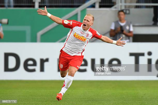 Alexander Nandzik of SSV Jahn Regensburg celebrates after scoring the 1:0 goal during the Pokalspiels between SSV Jahn Regensburg and Hertha BSC on...