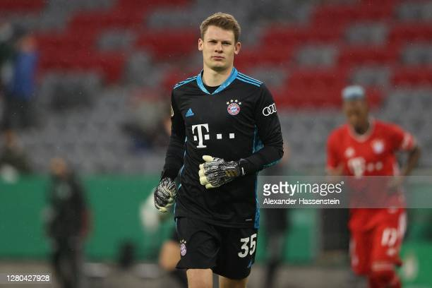 Alexander Nübel of FC Bayern München looks on during the DFB Cup first round match between 1. FC Düren and FC Bayern Muenchen at Allianz Arena on...