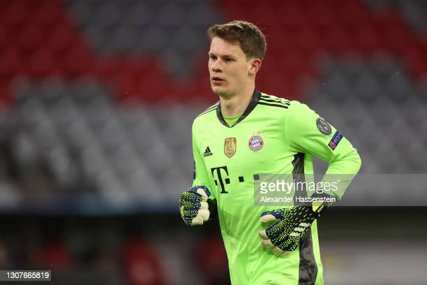 Alexander Nübel of FC Bayern München looks on during the UEFA Champions League Round of 16 match between Bayern München and SS Lazio at Allianz Arena...