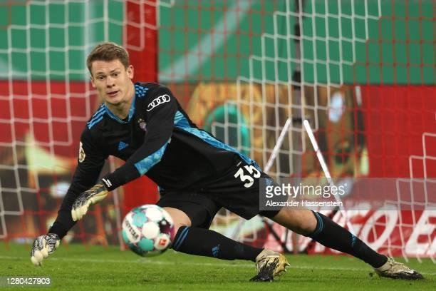 Alexander Nübel of FC Bayern München safes the ball during the DFB Cup first round match between 1. FC Düren and FC Bayern Muenchen at Allianz Arena...