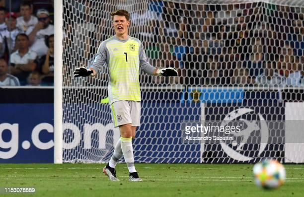 Alexander Nübel of Germany reacts during the 2019 UEFA U-21 Final between Spain and Germanyat Stadio Friuli on June 30, 2019 in Udine, Italy.