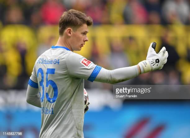 Alexander Nübel of Schalke gestures during the Bundesliga match between Borussia Dortmund and FC Schalke 04 at Signal Iduna Park on April 27 2019 in...