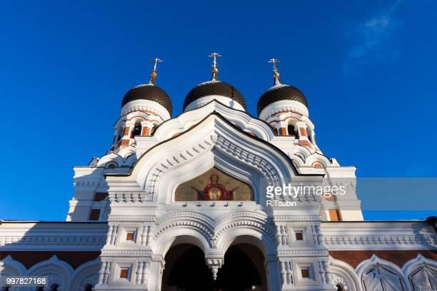alexander nevsky cathedral winter view - tallinn, estonia - tallinn stock-fotos und bilder