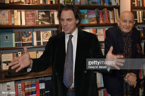 Alexander Newley and Naim Attallah attend the launch of new book 'Unaccompanied Minor' by Alexander Newley at Daunt Books on November 29 2017 in...