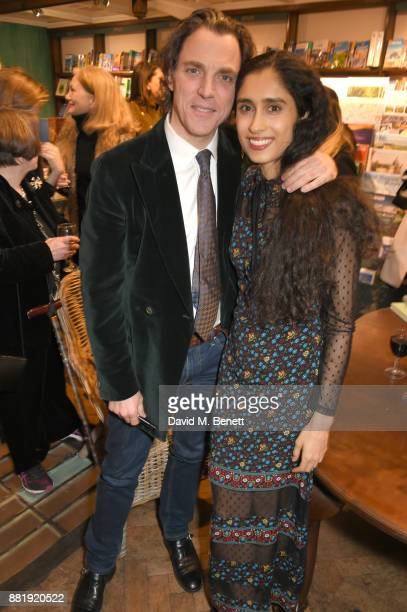 Alexander Newley and Sheila Raman attend the launch of new book 'Unaccompanied Minor' by Alexander Newley at Daunt Books on November 29 2017 in...