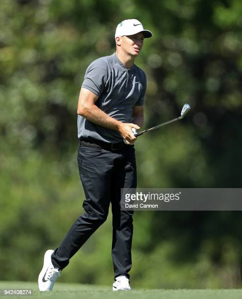 Alexander Noren of Sweden plays his third shot on the fifth hole during the first round of the 2018 Masters Tournament at Augusta National Golf Club...