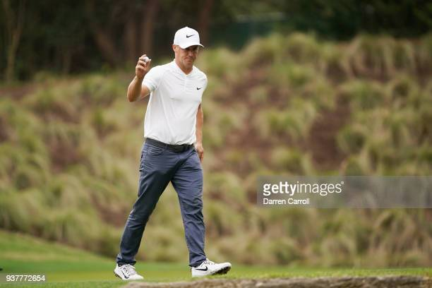 Alexander Noren of Sweden reacts on the fourth green during his semifinal round match against Kevin Kisner of the United States in the World Golf...