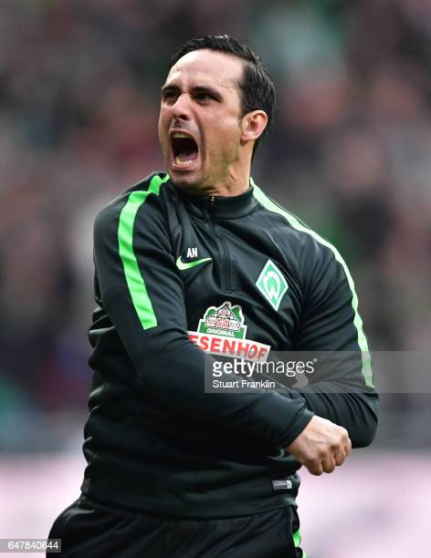 Alexander Nouri, head coach of Bremen celebrates his teams second goal during the Bundesliga match between Werder Bremen and SV Darmstadt 98 at...